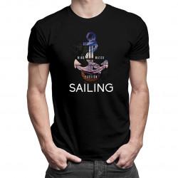 Wind, water, passion, sailing - Pánske tričko s potlačou