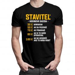 Staviteľ - hodinová sadzba - pánske tričko s potlačou