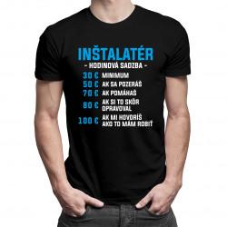 Inštalatér - hodinová sadzba - pánske tričko s potlačou
