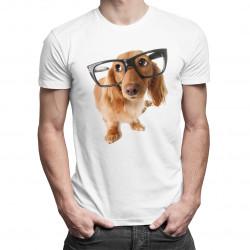 Šteňa s okuliarmi - pánske tričko s potlačou