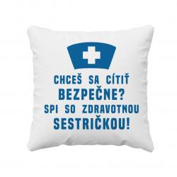 Spi so zdravotnou sestričkou - Biely vankúš pre potisk