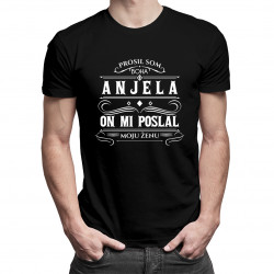Prosil som Boha o anjela a on mi poslal moju ženu - pánske tričko s potlačou