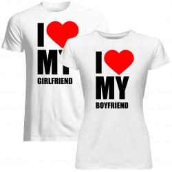 Sada pre páry - I love my boyfriend, girlfriend - tričko s potlačou