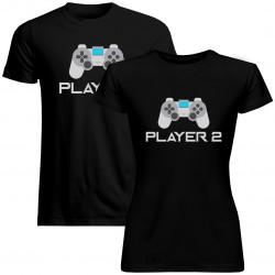 Sada pre páry - Player 1 (pánske) Player 2 (dámske) v2 -tričko s potlačou