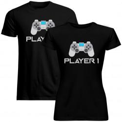 Sada pre páry -Player 1 (dámske) Player 2 (pánske) v2 -tričko s potlačou