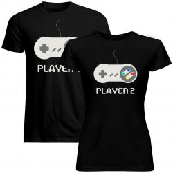 Sada pre páry -Player 1 (pánske) Player 2 (dámske) v1 -tričko s potlačou