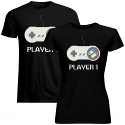 Sada pre páry -Player 1 (dámske) Player 2 (pánske) v1 -tričko s potlačou