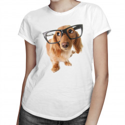 Šteňa s okuliarmi -  dámske tričko s potlačou