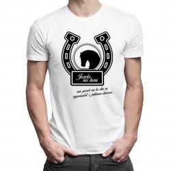 Jazda na koni má spôsob na to, ako sa vysporiadať s prílišnou dôverou - pánske tričko s potlačou