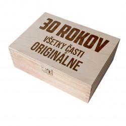 30 rokov - všetky časti originálne - drevený box na čaj s gravírovaním